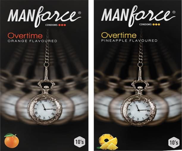 MANFORCE Overtime Orange & Pineapple 3in1 (Ribbed, Contour, Dotted) Condoms - 10s (Pack of 2) Condom