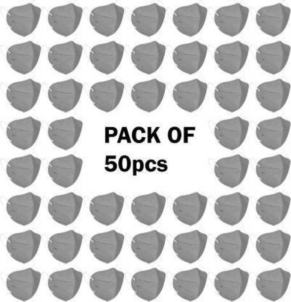 PRETVO Mishti 50 Piece Of N95 / KN95 FFP2 5- Layer Reusable Anti-Pollution , Anti- Bacterial , Anti- Virus washable respiratory 100% CERTIFIED Face Mask Respirator N95 WSX -44++ Water Resistant, Reusable, Washable Reusable (gery color, Free Size, Pack of 50) N-2