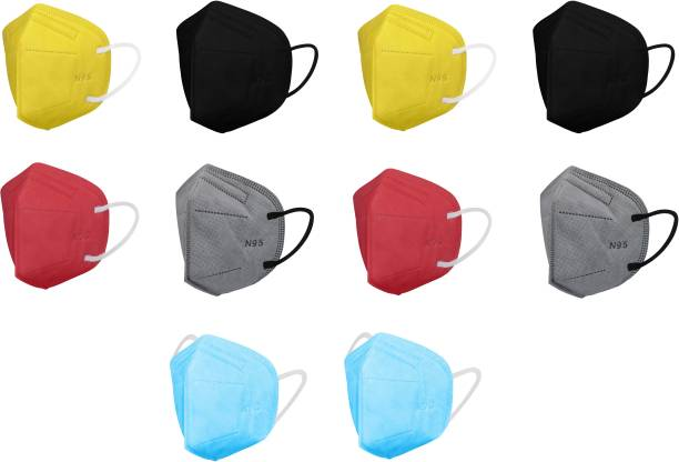 Nea N95 Breathable 5-Layer with Nosepin Anti- Pollution , Anti- Virus Reusable, Washable Protective Respiratory Face Mask N95 FFP2 MULTICOLOR - 10 Water Resistant, Reusable, Washable