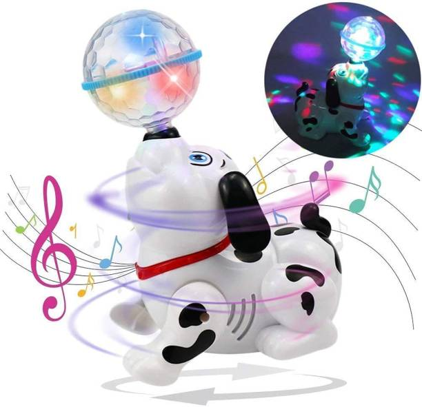 ARONET Dancing Dog with Music and Flashing Lights Rotating Wheel at The Base of The Dog enables it to Move Around