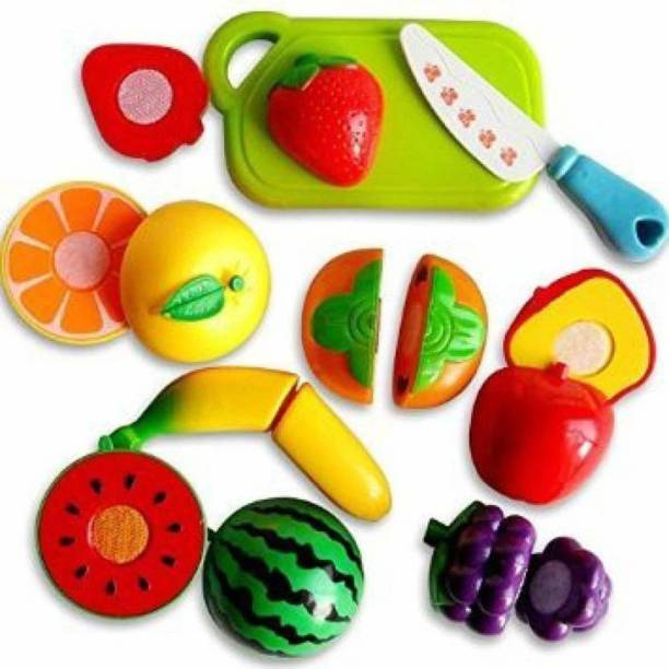 ARONET sliceable Cutting Play Kitchen Toy with Realistic Fruits, Vegetable, Knife and Cutting-Board for Kids (Multicolor) - Set of 9 pcs