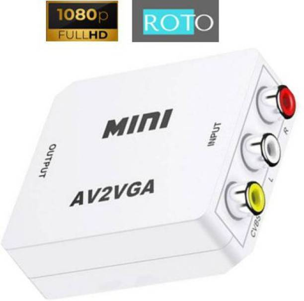 ROTO Full HD 1080P RCA to VGA Video Converter Box / AV to VGA Video Convertor Box / CVBS to VGA Video Converter Box with 3.5mm Audio, Plug and Play, No Driver Required, Connect the VCD / DVD / webcam / set-top box, etc. to Monitor to look/enjoy a digital TV. Media Streaming Device