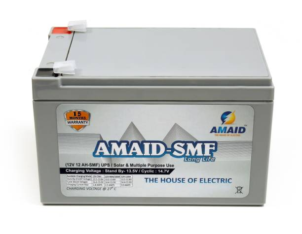 AMAID 12V 12AH at C27 SMF UPS-Emergency Battery for Use in UPS/Solar And All Multiple Use.15 Month Warranty (MADE IN INDIA). UPS