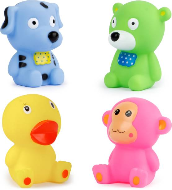 zest 4 toyz Chu Chu Sound Squeezy Chaar YAAR Baby Bath Toys for Kids Toddlers Soft Natural Rubber Non-Toxic Animal Shape Bathtub Toys (Pack of 4 ) - Multicolor Bath Toy