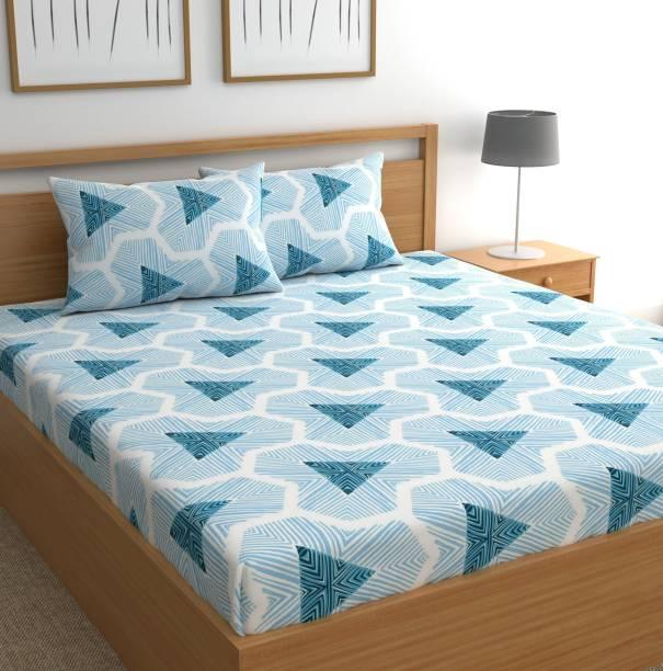 CHHAVI INDIA 144 TC Microfiber Double 3D Printed Bedsheet