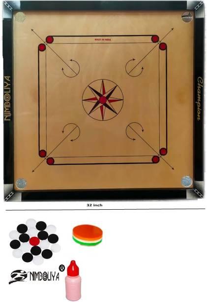 NIMBOLIYA Champion 32*32 with carrom coin 81 cm Carrom Board