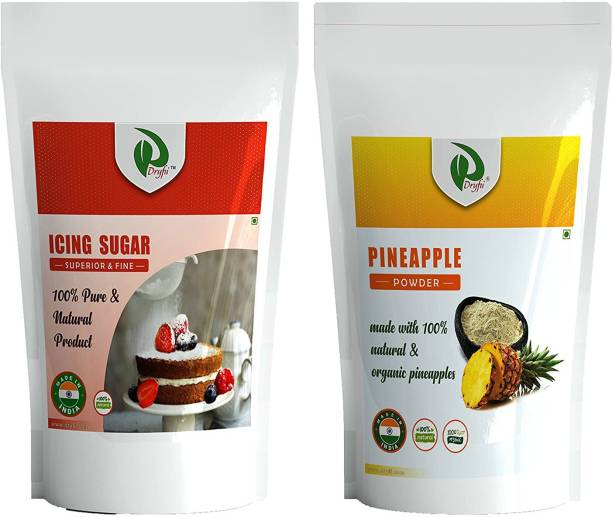 Dryfii Natural Spray Dried Pineapple powder 100G & A Grade Quality Icing Sugar 250G for Frosting & Icing, Baking Cake, Muffins, Confectioner's Combo, No Preservatives, No Artificial Flavors