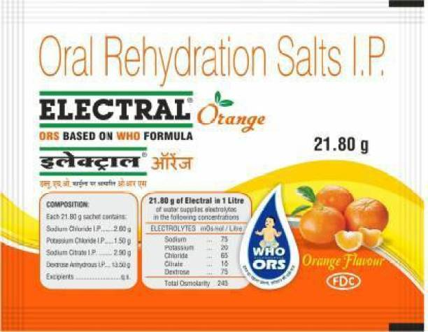 Electral Orange Powder 21.8 gm (Pack of 15) Energy Drink (15x1 Sachets, Orange Flavored) Energy Drink