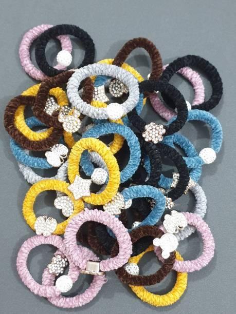 HOMEMATES Fur Rubber Band Scrunchies Women Girls Elastic Hair Bands Plush Hair Multicolor Stone Rope Rubber Bands Headband Hair Accessories 12 Pcs (Multicolor) Rubber Band