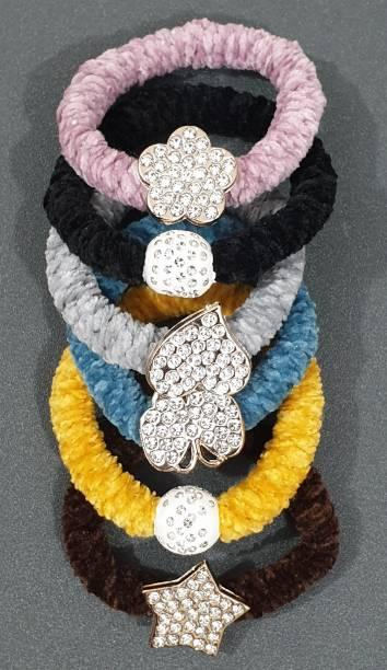 HOMEMATES Fur Rubber Band Scrunchies Women Girls Elastic Hair Bands Plush Hair Multicolor Stone Rope Rubber Bands Headband Hair Accessories 6 Pcs (Multicolor) Rubber Band