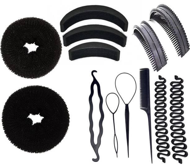 BELLA HARARO Hair Puff Up Maker Hair Styling Tools Bun Maker Donut Magic Bun Topsy Tail Ponytail Holder Black (Combo of 13 Pieces) Hair Accessory Set