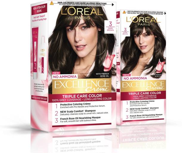 L'Oréal Paris Excellence Creme Hair Color (Combo Pack of 2 - 100g, 72 ml With 25g, 25 ml) , 3 Natural Darkest Brown