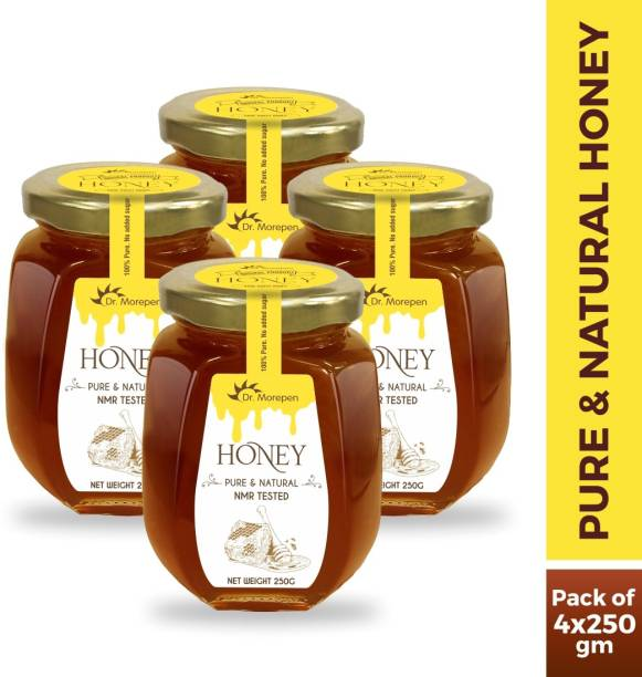 Dr. Morepen Natural & Pure Honey NMR Tested & No Sugar Adulteration Pack of 4 - 250g Each