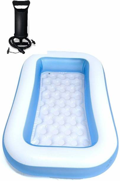 Orioles 5.5 FT. Bath tub for Baby Inflatable Rectangular Pool with Air Balloon Pump Inflatable Rectangular Pool, Multicolor Inflatable Swimming Pool