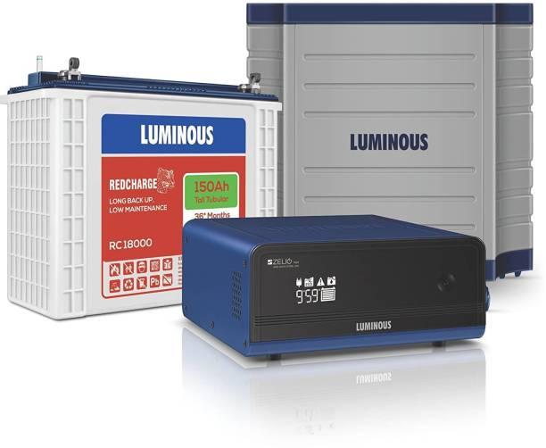 LUMINOUS Zelio 1100 + Rc18000 Tall Tubular Battery + Trolley Tubular Inverter Battery