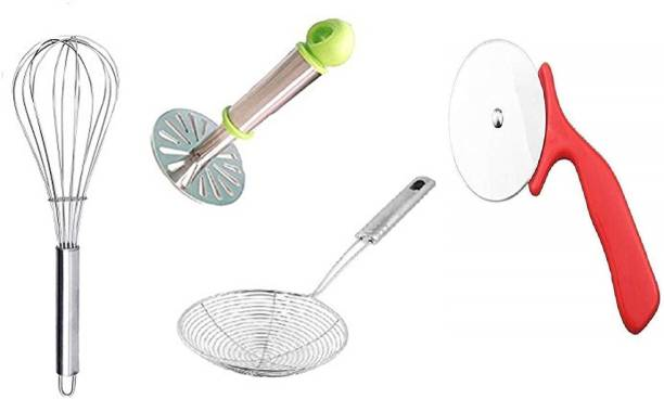 Coco Kitchen Combo Set of 4 PCs Stainless Steel Potato Vegetable Masher, Egg Whisk and Deep Fry Strainer and Pizza Cutter Wheel Pizza Cutter