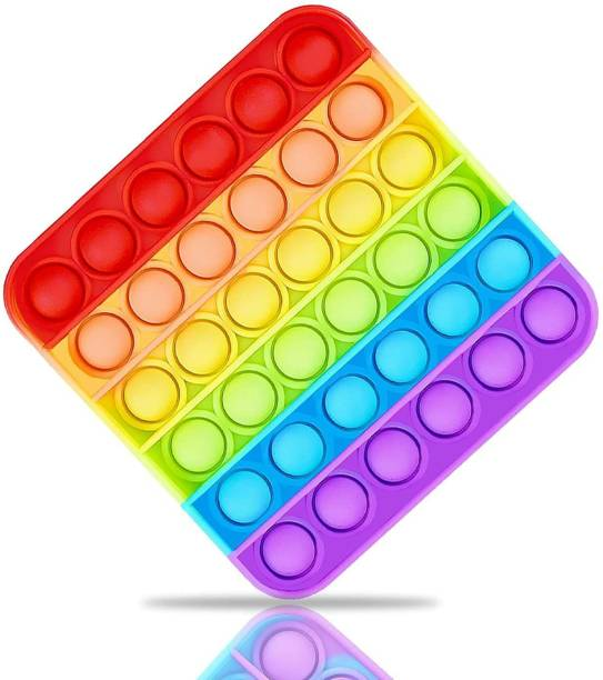 Trikhani Pop It Fidget Toys,Push Pop Bubble Fidget Sensory Toy,Autism Special Needs Silicone Stress Relief Toy,Great Fidget Toy Sensory Toys Novelty Gifts for Girls Boys Kids Adults (Square Rainbow)