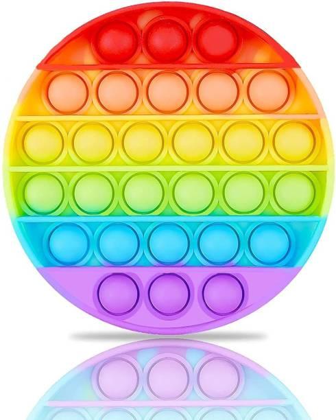 Trikhani Pop It Fidget Toys,Push Pop Bubble Fidget Sensory Toy,Autism Special Needs Silicone Stress Relief Toy,Great Fidget Toy Sensory Toys Novelty Gifts for Girls Boys Kids Adults (Round-Rainbow)