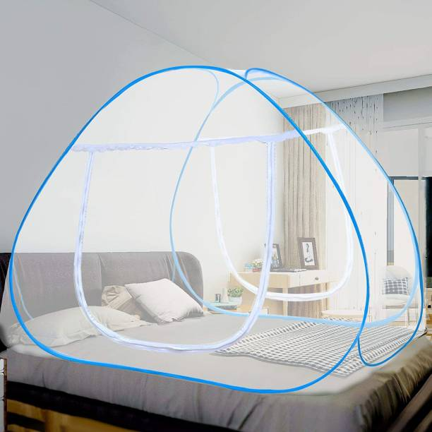onpoint Polyester Adults Polyester Adults Blue Mosquito Net Double Bed Nets for King Size Foldable Adult Mosquitoes/Machhardani Protection Net Mosquito Net