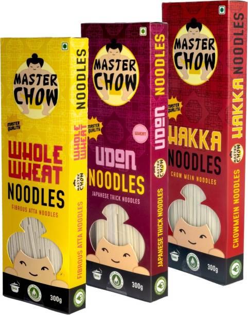 MasterChow Noodle Kit (1 Udon, 1 Hakka, 1 Whole Wheat Noodle) | No Preservatives | Get Restaurant Style Taste in Just 10 Minutes | Serves 4-5 Meals Hakka Noodles Vegetarian