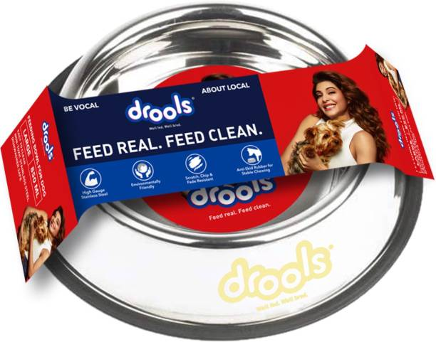 drools Anti Skid Round Stainless Steel Pet Bowl