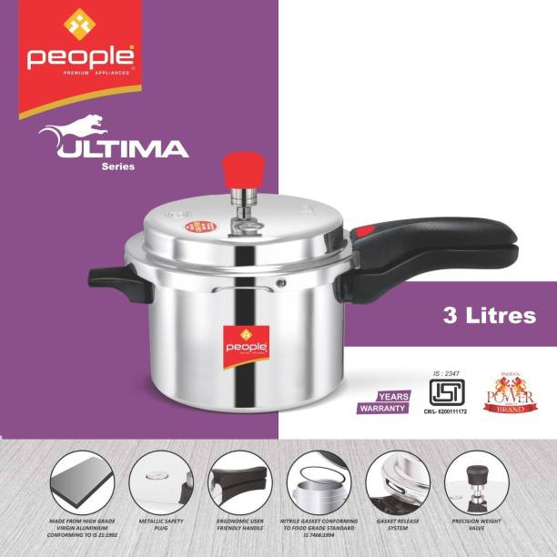 People ISI CERTIFIED With Double Screw Handle & Lead Free Safety Valve 3 L Pressure Cooker