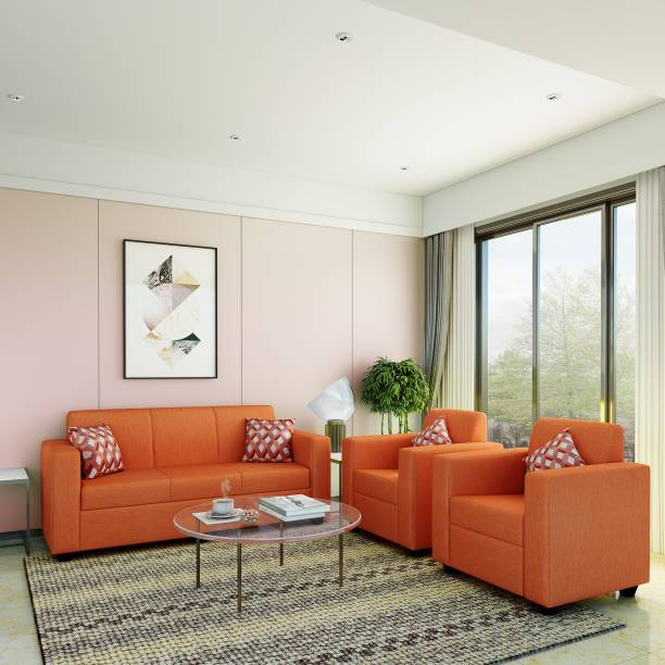 Flipkart Perfect Homes Burano Fabric 3 + 1 + 1 Orange Sofa Set