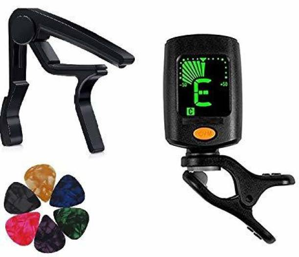 Urban Infotech Guitar Tuner 360 degree Digital Tuner Easy to Use Highly Accurate Clip-on Tuner Best for Acoustic and Electric Guitar Bass Violin Ukulele With Capo & 5 Picks(Design may very) Automatic Digital Tuner (Chromatic: Yes, Multicolor) Automatic Digital Tuner