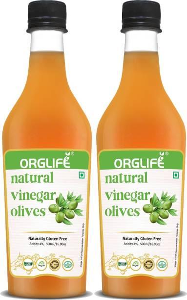 ORGLIFE Olive Vinegar 1000 ml - Premium Filter (Jaitun Ka Sirka) pack of 2 Vinegar