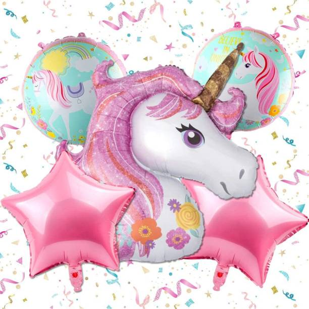 Elegant Lifestyle Printed Magical Unicorn Birthday Decoration for girl boy Printed Unicorn Star Round Party Theme Inflatable Air Balloon