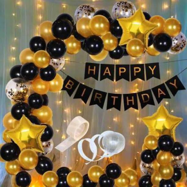 Hemito Solid 92pcs Birthday Balloons Decoration With Light Kit Items Combo-92Pcs for Kids Boys Girls Adult Women Husband,Quarantine Theme Decorations/Black Gold Supplies/Foil Balloon,Latex Baloon,Star and Banner Happy Birthday Decorations Items Set Balloon