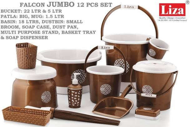 Liza Jumbo Bathroom Set Combo - 12 Pcs. (Bucket, Tub, Dustbin, Stool, Mug, Soap Case) 22 L Plastic Bucket (Brown) 36 L Plastic Bucket