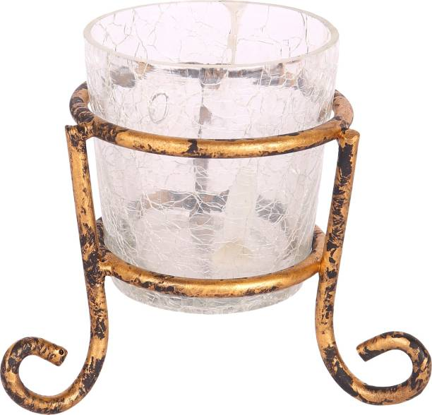 PockMAN Gallery Victorian Style Metal Glass Stand Cup Votive Tealight Candle Holder for Central or Side Tables Living Room and Home Decoration or Gifting Glass, Iron 1 - Cup Tealight Holder Set