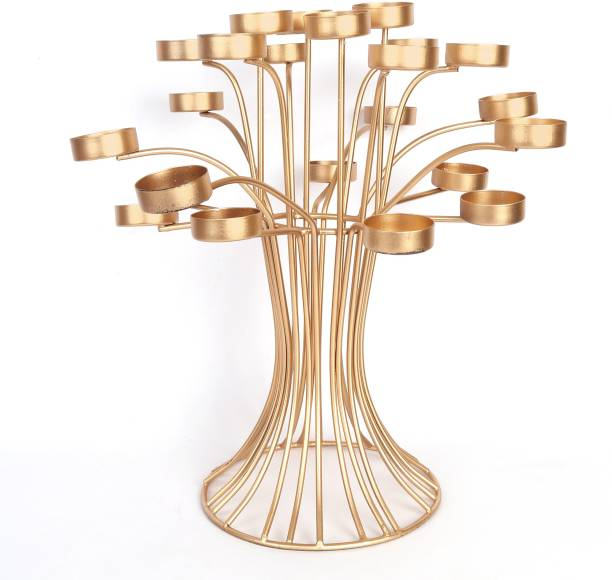 Lasmo Bunch of Tea Light Candle Holder Stand For Home Decoration/ Candle Holder Stand /Diwali Decoration Items/Diwali Gifts/Diwali Décor. Iron, Gold Plated Tealight Holder Set