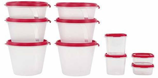 Cutting EDGE (Pack Of 10) (Pink) (1000 ML, 750 ML, 500 ML, 250 ML, 125 ML) Compact Sizes- AirTight Stackable Kitchen Organizer, Super Sturdy Eco Series Food & Utility Container  - 1000 ml, 750 ml, 500 ml, 250 ml, 125 ml Plastic Grocery Container
