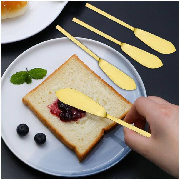 nestroots Nestroots Table Butter Knives/Knife   Cheese spreaders (Set of 4 pieces) - Jam Butter Knife Designer Cheese Spreader Dessert Knive Set Dinner Knife Dining Table Accessories Stainless Steel Diwali or Deepawali Gift(Gold) Stainless Steel Butter Spreader Set