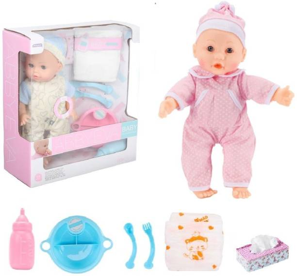 HALO NATION Baby Born Play Set with Accessories Dining Set – Speaking Boy Doll with Milk Bottle, Eating Plate, Spoon, Fork, Tissue Box & Baby Dipper - Infant Doll Baby Doll Toy