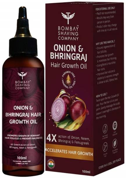 BOMBAY SHAVING COMPANY Onion and Bhringraj Hair Oil With 4X Growth Action - Stimulates the Roots & Prevents Baldness | 100 ml Hair Oil
