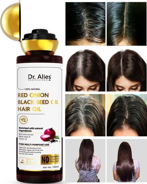 Dr. Alies Professional Onion Oil for Hair Fall Control & Faster Hair Growth Hair Oil - No Mineral Oil, Colour, SLS, PEG for Men & Women (100 ml) Hair Oil