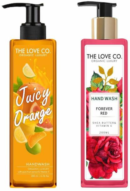 The Love Co. Hand wash Liquids Refill Soap (Juicy Orange & Forever Red) Floral Essential Oil Gentle Moisturize Hand Multi Purpose Hand Wash with Aloe, Shea Butter & Vitamin E 200ML Hand Wash Bottle