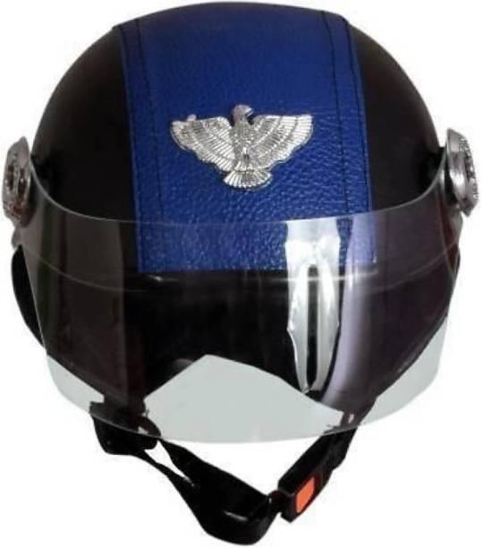 KIN Blue Leather Beauty Halmet Ladies/Gents Motorbike Helmet