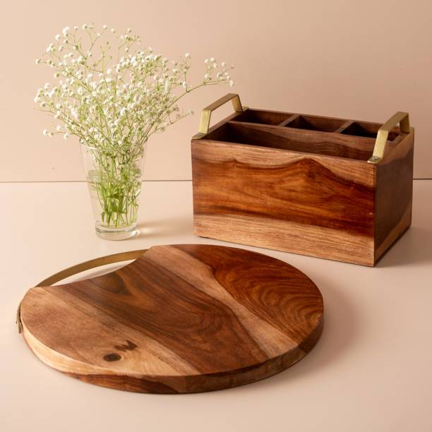 nestroots NRCOM015 NestRoots® Wooden Multi Functional Cutlery Holder/Wooden Spoon Stand with Wooden Handcrafted Chopping Board with Handle for Cutting Board Pack of two Kitchen Tool Set