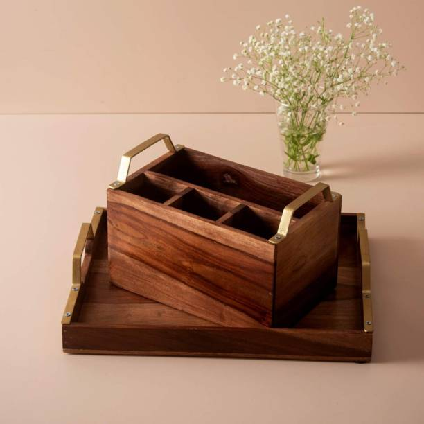 nestroots NRCOM016 Wooden Multi Functional Cutlery Holder/Wooden Spoon Stand and Wooden Serving Tray with Brass for Table Decor, Home Decor, Dining and Serving and Gifts Pack of two Kitchen Tool Set