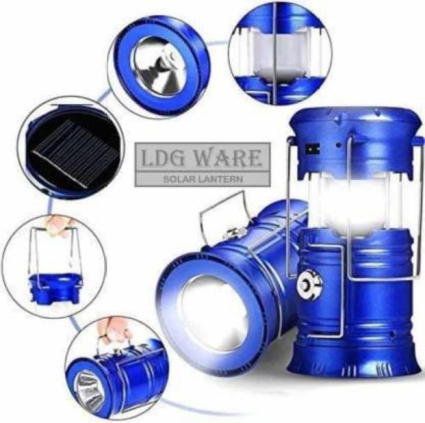 Vellora Rechargeable Solar Powered LED Blue Plastic Table Lantern