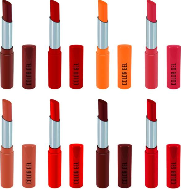 COLOR GEL Lipstick gives Balm effect Super Velvet Matte lipstick Combo Pack of 8 super shades Long Lasting, Highly pigmented ,Waterproof, Smudge proof, Superstay, Combo Set , Creamy Matte
