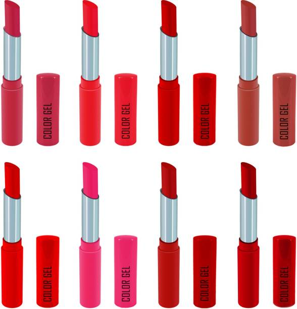 COLOR GEL Lipstick gives Balm effect Super Velvet Matte lipstick Combo Pack 8 shades Long Lasting, Highly pigmented ,Waterproof, Smudge proof, Superstay, Combo Set , Creamy Matte,