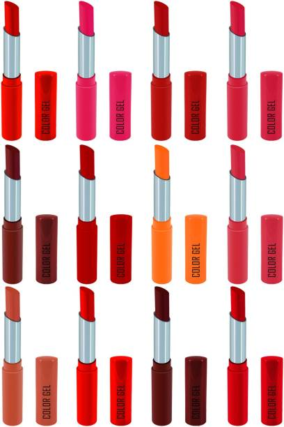 COLOR GEL Lipstick gives Balm effect Super Velvet Matte lipstick Combo Pack 12 shades Long Lasting, Highly pigmented ,Waterproof, Smudge proof, Superstay, Combo Set , Creamy Matte