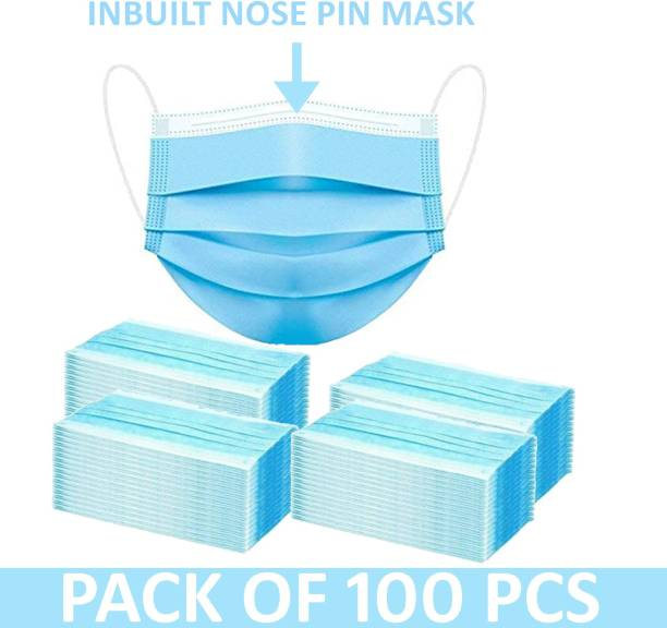 Growing fashion GF-SM-100Pcs 3 PLY MASK SURGICAL (100 Piece) with Nose Pin | Unbreakable Ear loops 3 Layer Pharmaceutical Breathable | Surgical Pollution Face Mask For Men | Women | Kids 3 Layer Pharmaceutical mask . Surgical Mask Protects nose and mouth against fluids | Fluid-Resistant. Surgical Mask