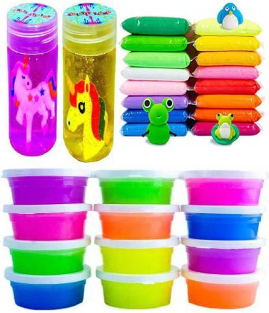 anjanaware aw-12 crystal with 12 air dry putty with 2 long bottle slime with molds for kids Multicolor Putty Toy