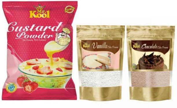 Mr.Kool Instant Cake Premix And Golden Vanilla Flavour Instant Custard Powder Pure Veg Combo   Vanilla And Chocolate Cake Premix   Chocolate Fudge Cake   Instant Creamy Vanilla Flavour Used For Puddings And Many Delicious Desserts   1200G Combo   1200 g